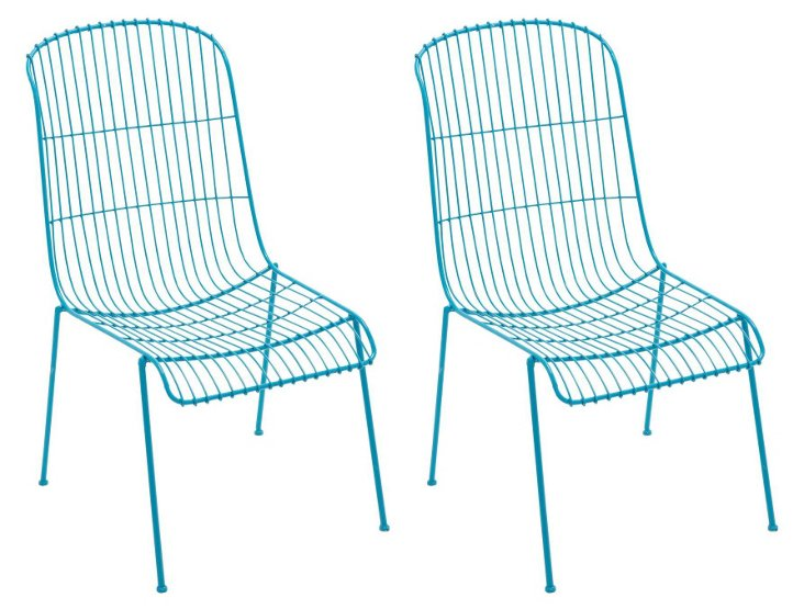 Blue Milly Chairs, Set of 4