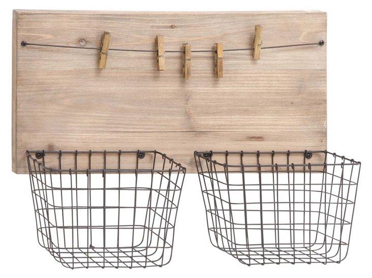 Wood Memo Board w/Baskets