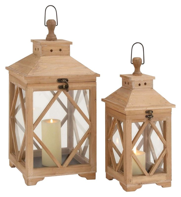 Asst. of 2 Glass Panel Lanterns, Natural