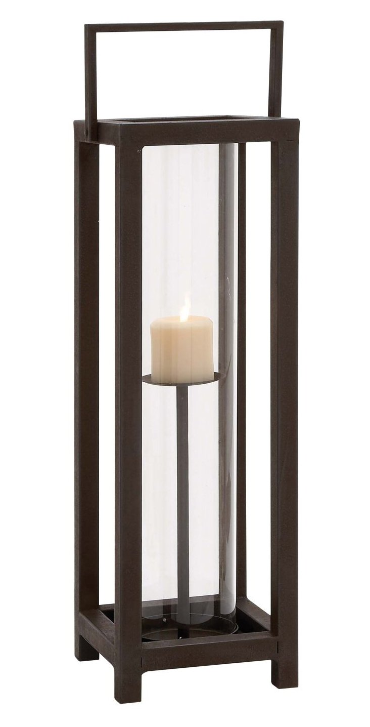 "25"" Metal & Glass Candleholder, Brown"