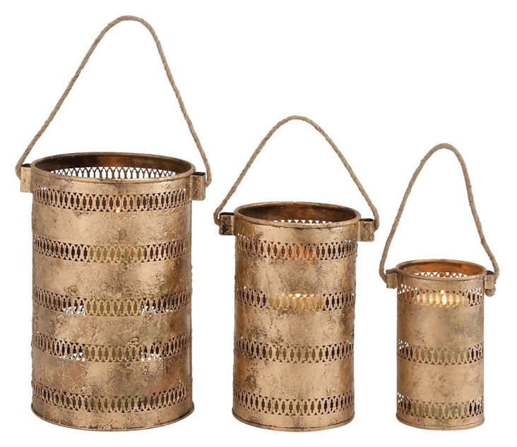 Asst. of 3 Cut Out Metal Lanterns