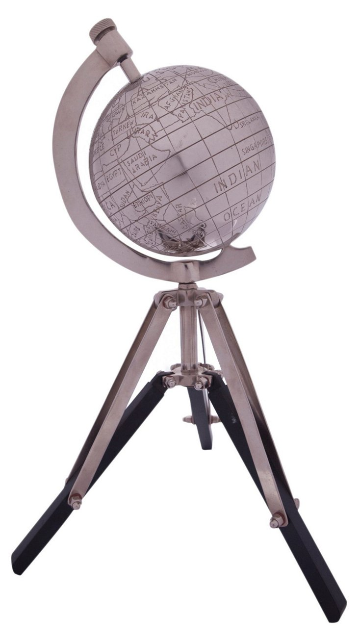 Metal Globe on Wood Tripod