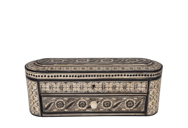 Painted Bone Jewelry Box w/ Drawer