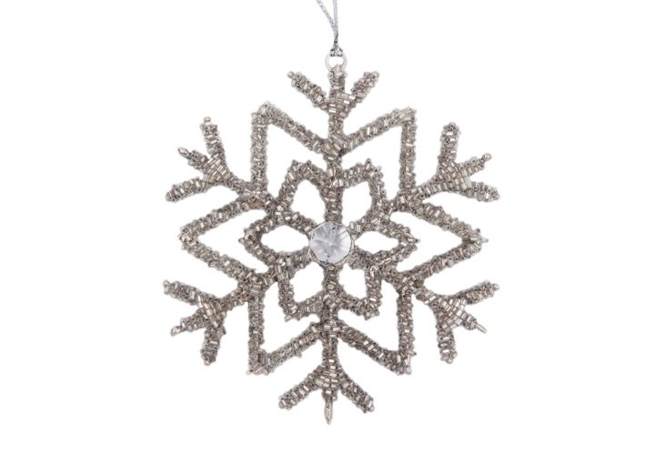Set of 4 Snowflake Ornaments, Frost