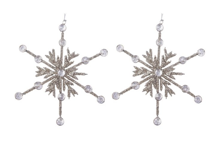 Set of 2 Snowflake Ornaments, Frost