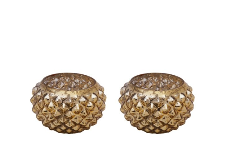 Set of 2 Votives, Gold