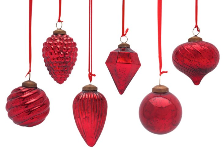 S/6 Antiqued Red Ornaments