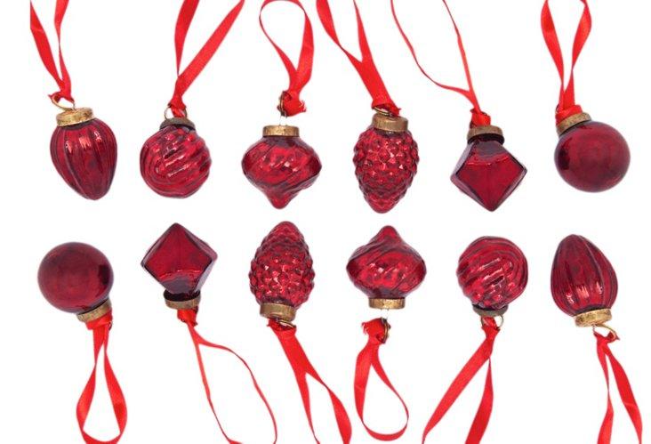 Set of 12 Mini Antiqued Red Ornaments
