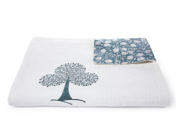 Reversible Floral/Tree King Quilt