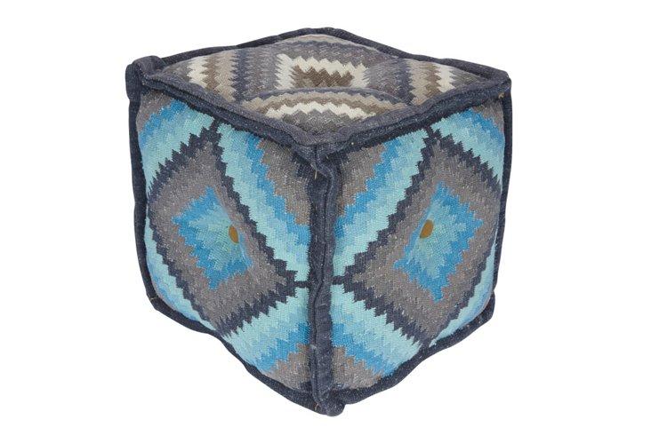 Crochet Pouf, Blue/Gray/Multi
