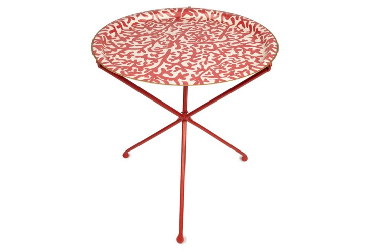 Round Folding Table, Coral/White