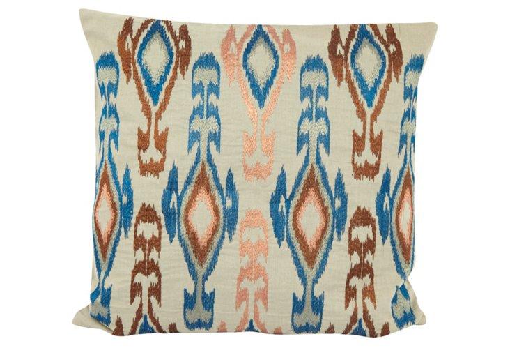 Ikat 18x18 Pillow, Blue/Brown