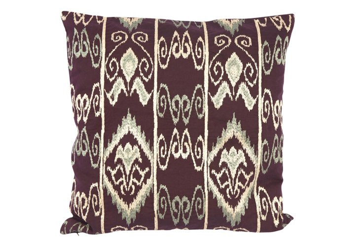 18x18 Embroidered Mayan Pillow, Purple