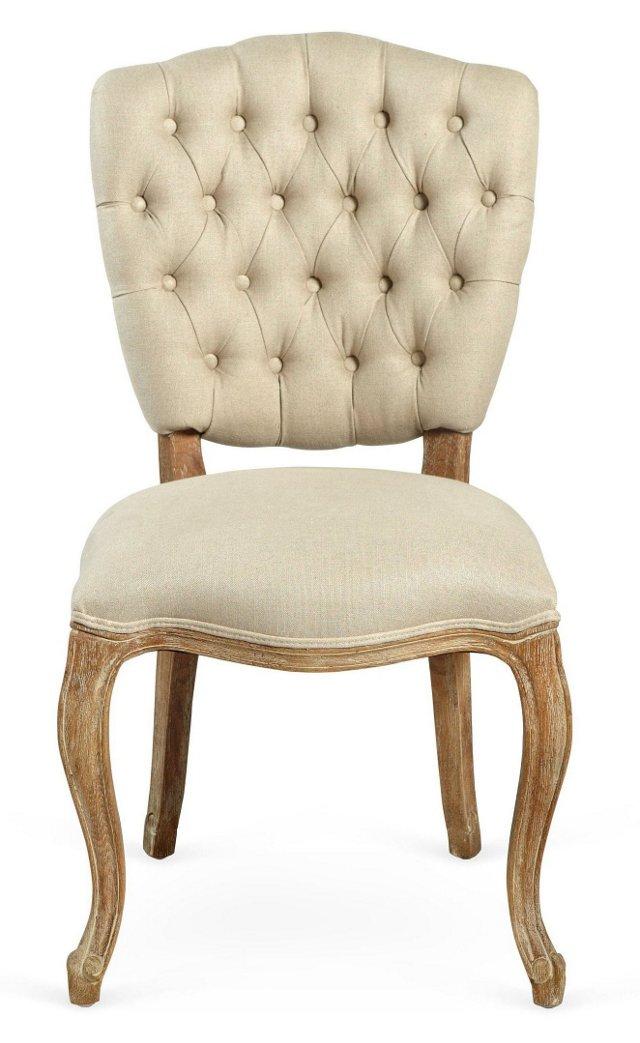 Jenna Tufted Side Chair, Oatmeal