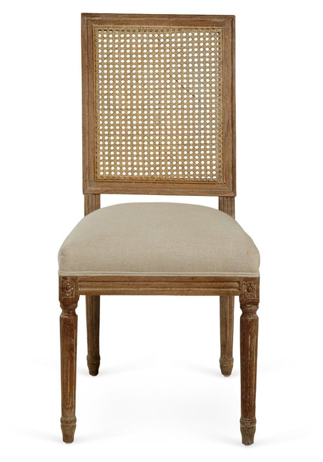 Edel Dining Chair, Ivory/Straw
