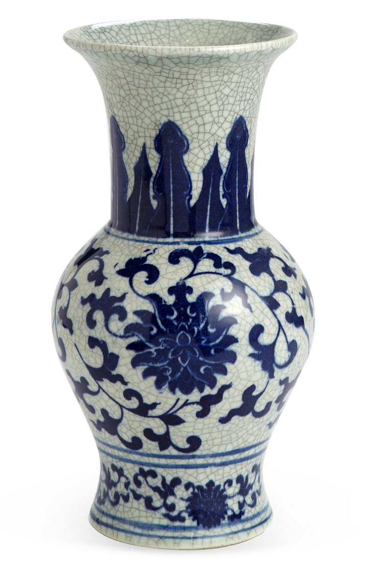 Decorative Vase, Blue Floral