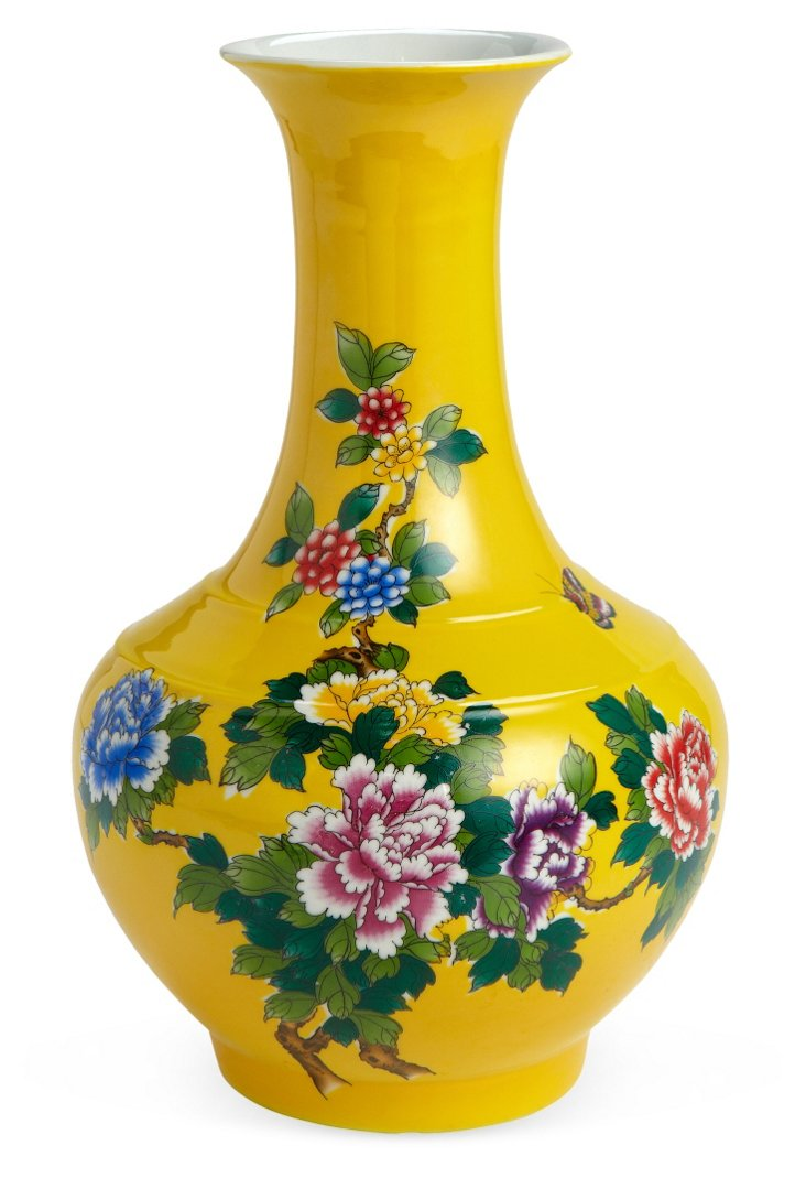Vase, Yellow Floral