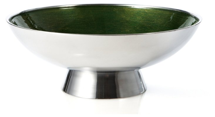 Footed Enamel Bowl, Green/Silver