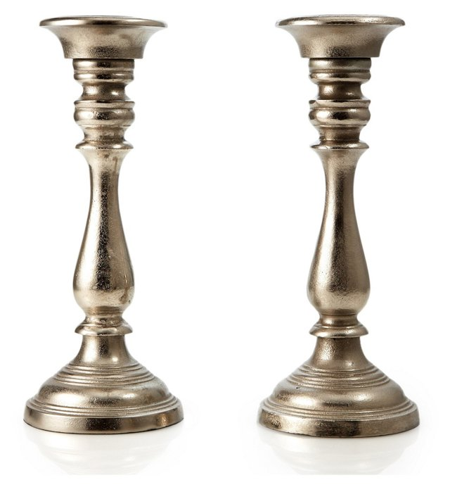 S/2 Candlesticks, Pewter