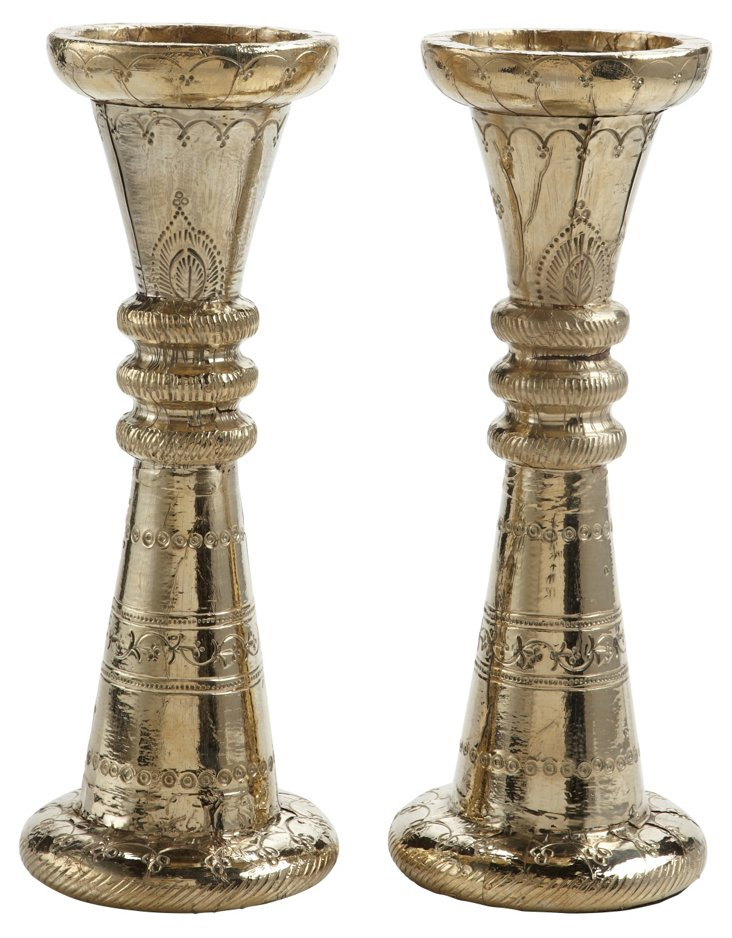 """Pair of 12"""" Silver-Finish Candleholders"""