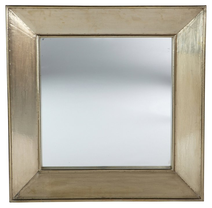 "Squared Metal 36"" Mirror, Silver"