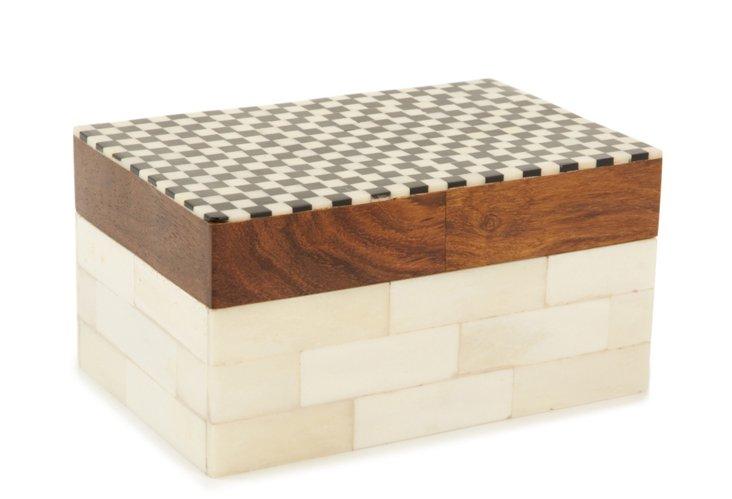 4x6 Checkered Bone Inlay Box