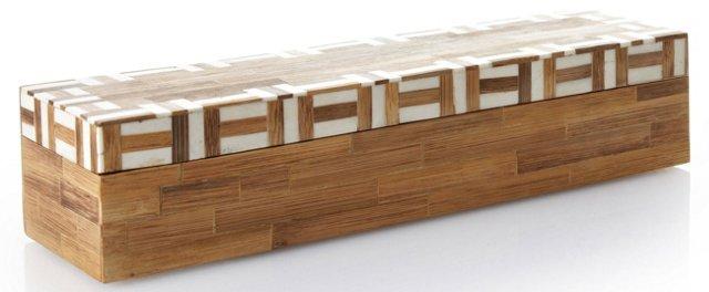 Bone/Bamboo Stripes Inlay on Lid Box