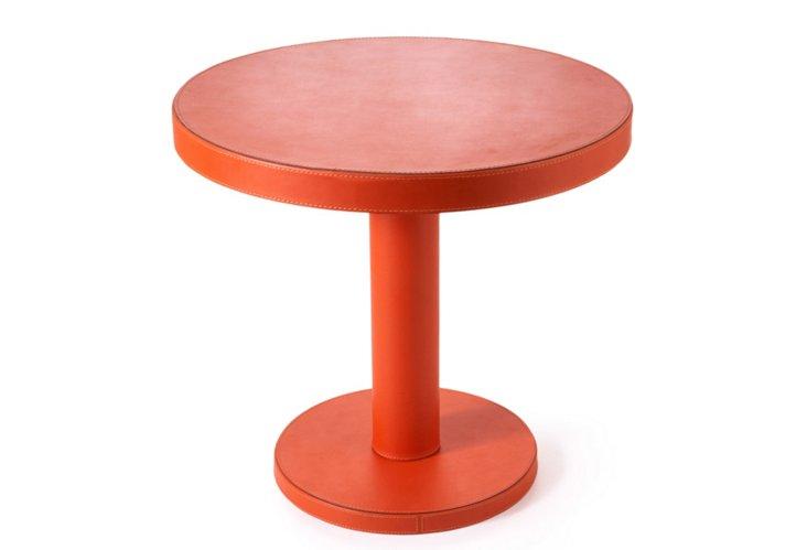 Todd Leather Stool, Orange