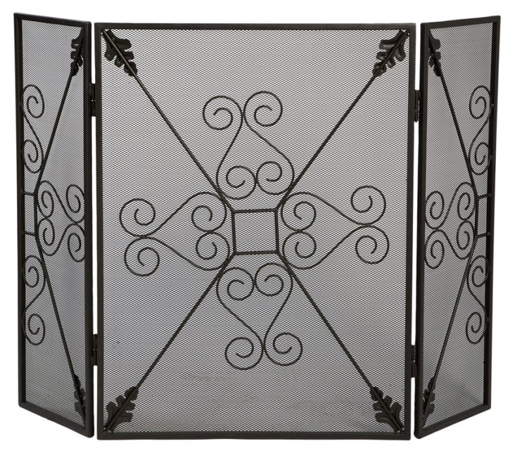 Three-Panel Fireplace Screen, Black