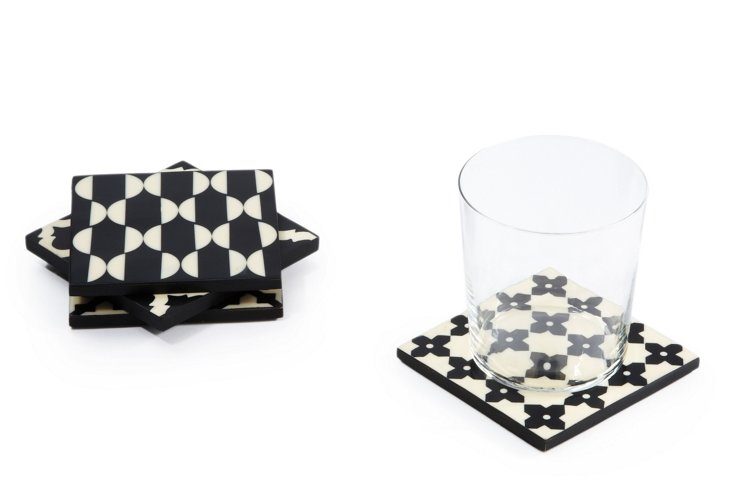 S/4 Assorted Coasters, Black