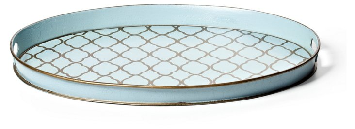 Oval Quatrefoil Tray, Pale Blue