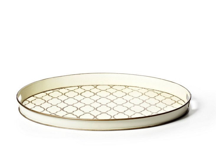 Oval Quatrefoil Tray, Cream