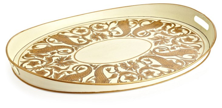"25"" Oval Tray in Ivory and Gold"