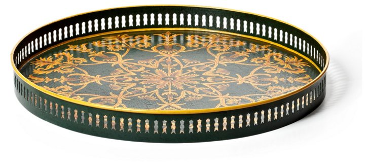 "18"" Green Filigree Tray"
