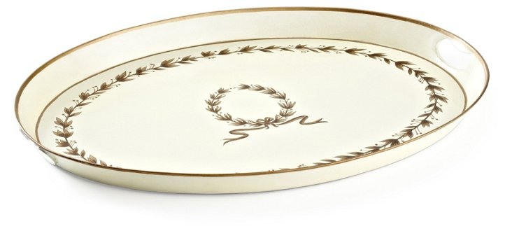 "23"" Oval Tray, Garland Motif"