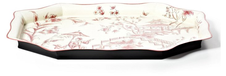 25x18 Ivory Scroll Tray, Red Toile