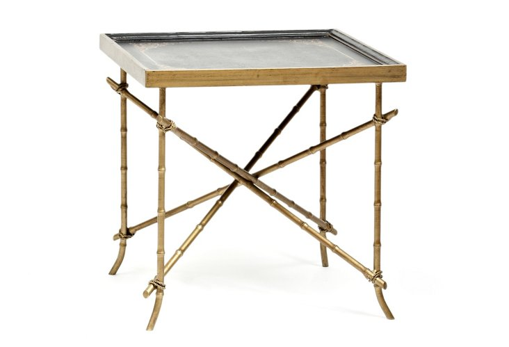 Oriental Bamboo Table, Black/Gold