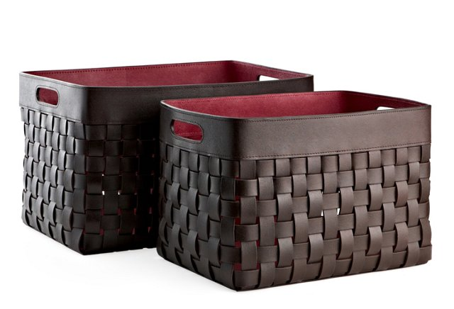 S/2 Woven Leather Baskets, Brown/Fuchsia