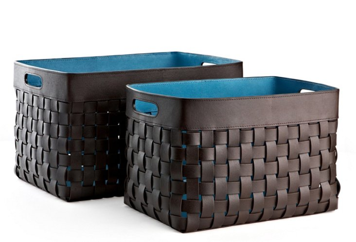 S/2 Woven Leather Baskets, Blue