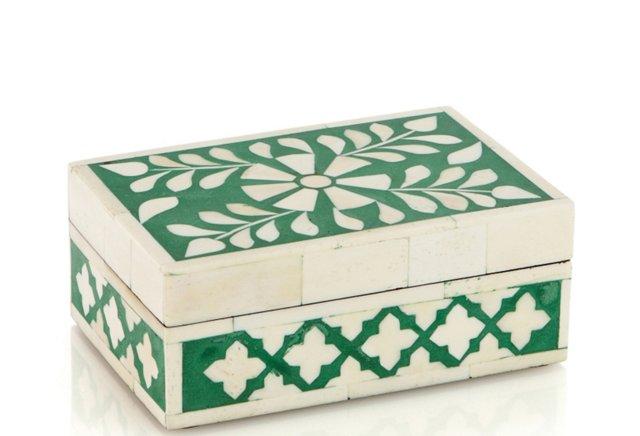 Flat Bone Inlay Box, Green