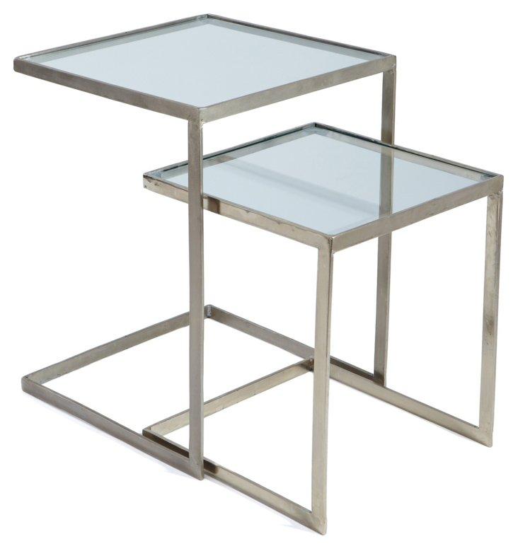 Nickel Melrose Nesting Tables, Set of 2