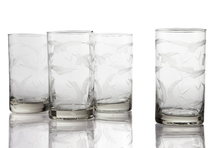 S/4 Highball Glasses, Feather