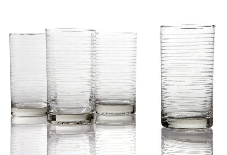 Set of 4 Highball Glasses, Rings