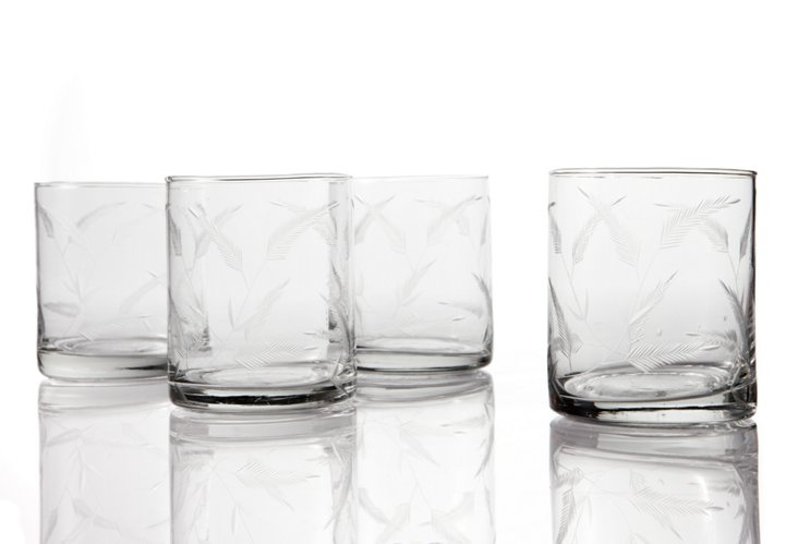 S/4 Rocks Glasses, Feather