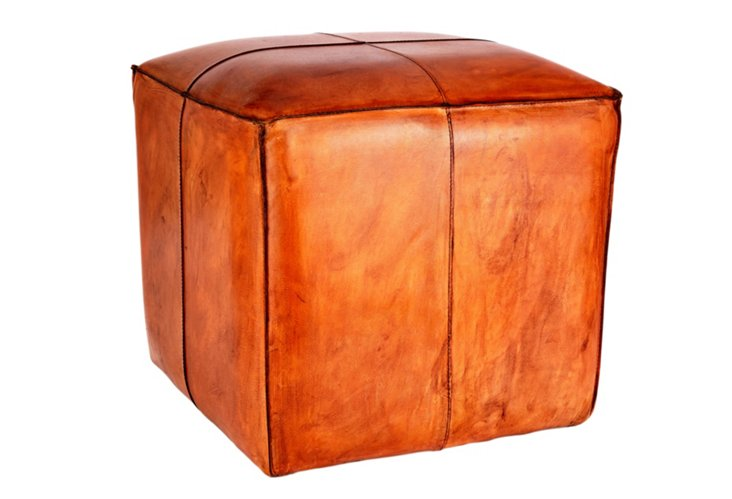 Charles Leather Pouf, Tobacco