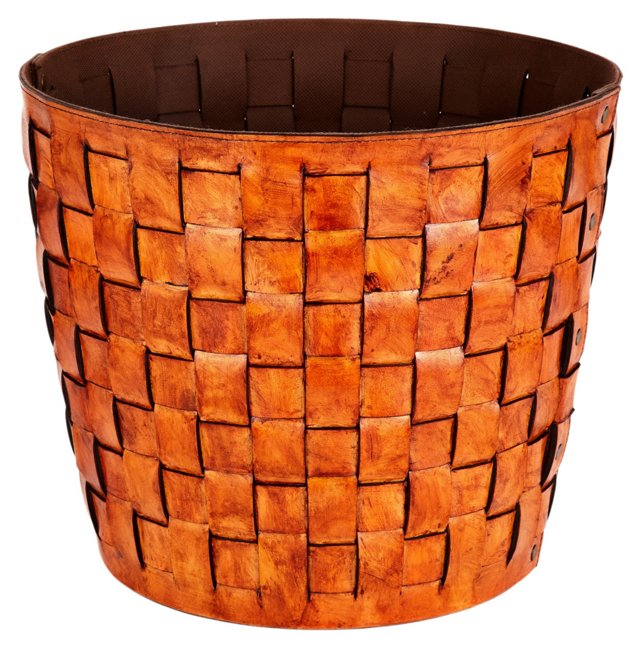Round Woven Leather Basket, Tobacco
