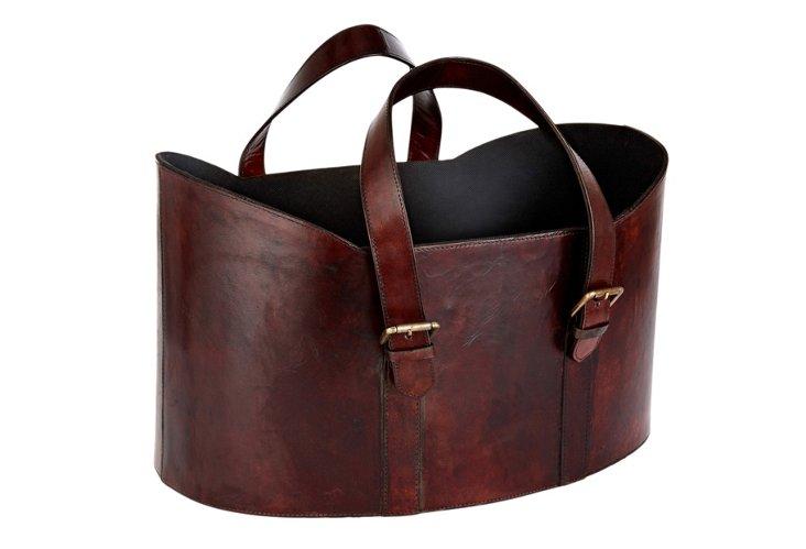 Leather Log Basket, Cognac