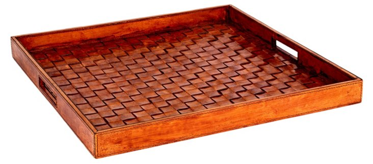 Woven Leather Tray, Tobacco