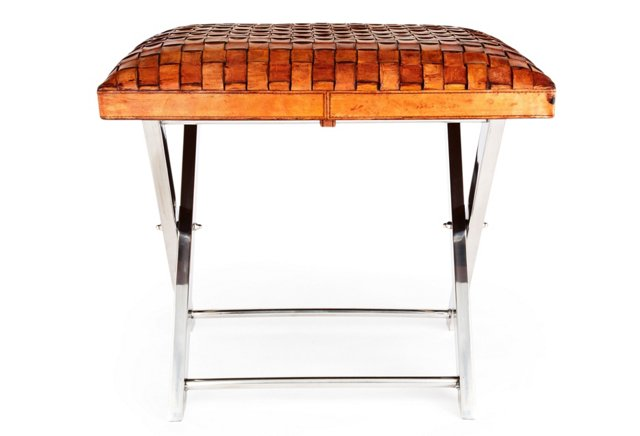 Leather Weave Stool, Tobacco