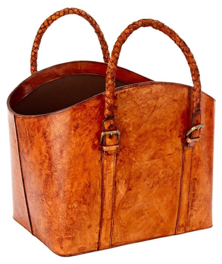 Braided Leather Log Basket, Tobacco